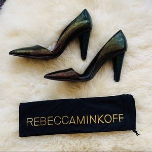 Rebecca Minkoff Heels Black Petrol Grid Leather